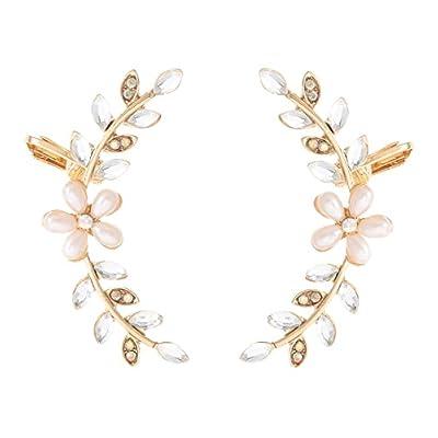 nice Boderier Ear Crawler Cuff Earrings Crystal Leaf and Flower Climber Earrings Jacket hot sale