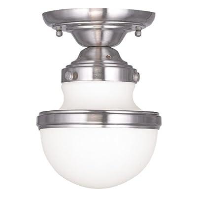 Livex Lighting 5720-91 Oldwick 1-Light Ceiling Mount, Brushed Nickel