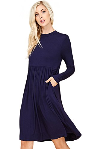 Annabelle Womens Pull On Stretch Knit Pleated Empire Waist Tunic Pocket Dress With Long Sleeves Blue Navy Medium D5256 (Pleated Dress Knit)