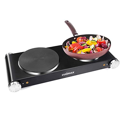 Cusimax Hot Plate Electric Double Burner Cast Iron Heating Plate Portable Burner Outdoor Electric Stove 1800W with Adjustable Temperature Control Non-Slip Rubber Feet, Stainless Steel Easy To Clean (Stoves Iron Heating Cast)