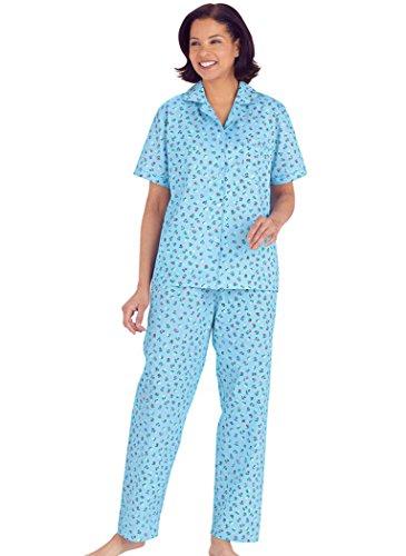 Tailored Womens Pajamas (AmeriMark Women's Tailored Print Pajamas 1X (16W-18W)/Aqua Floral)