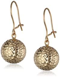 14k Yellow Gold Faceted Ball Drop Earrings