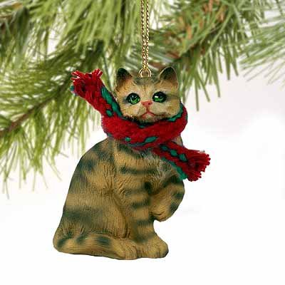 Tabby Cat Tiny Miniature One Christmas Ornament Brown Shorthaired - DELIGHTFUL!