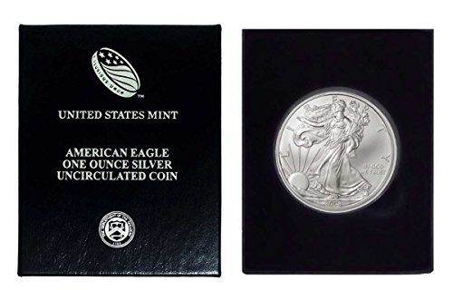 2008 - 1 Ounce American Silver Eagle in Plastic Air Tite and Blue Gift Box Dollar Uncirculated Us Mint