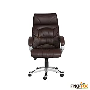 Executive/Employee / Staff/Office Chair with High Back Leatherette Chair and Imported Base for Office in Brown Color by Finch Fox