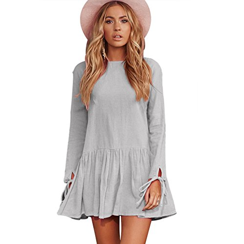 Women Casual Loose O Neck Solid Color Back Fastener Pleated Long Sleeve Shift Short Dress With Bow-knot (L, Grey)