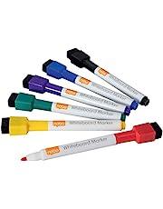 Nobo 1903792 Mini-whiteboard-stiften met magnetische gumkap, 2 mm fijne punt, verpakking van 6 stuks, droog afwisbaar/uitwisbaar, geurarm, gesorteerde kleuren, 1903792