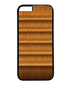 VUTTOO Iphone 6 Case, Textured Light Wood Shelves Customize Hard Back Case for Apple iPhone 6 4.7 Inch PC Black