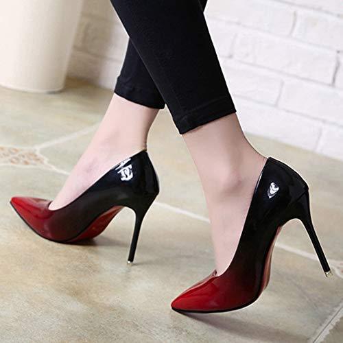 Red Bouche En Hauts Stiletto Été Femmes unis Les Profonde Couleur Et La Peu Unie Classique Pointues Chaussures Europe À Pu De États Talons Printemps HxwpgyXq