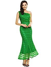 Angvns Women Sexy Lace One Shoulder Dress Long Prom Evening Fishtail Dresses