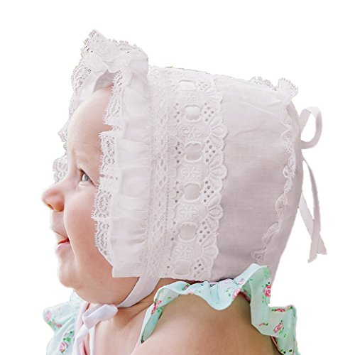 Huggalugs Baby Girls White Ribbon and Lace Bonnet 12-18m ()
