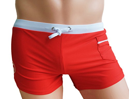KINGDESON Men's Beach Sexy Pocket Lace-Up Swimming Shorts Trunks Boxer Underwear