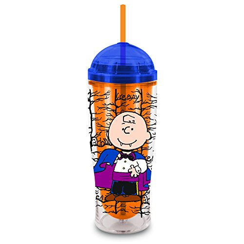 Smart Planet Peanuts Halloween Charlie Brown Insulated Cup with Dome Lid and Straw, 14-Ounce, Clear ()