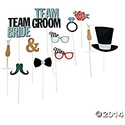 Wedding Party Photo Booth Costume Stick Props - 12 pcs