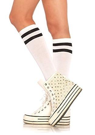 7b7d255a33c blanc pour femmes OR NOIR Athlétique Sport RAYURE Chaussettes Hautes Genoux  TRENDY sportive danseur américain taille unique mode RUGBY ECOLE - blanc  avec ...