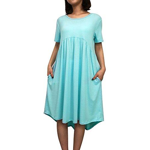 3f03fee28d0 Sumen Women s O Neck Short Sleeve Pockets Pleated Loose Irregular Casual  Dress(Blue