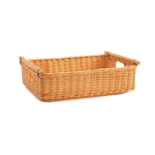 The Basket Lady Low Pole Handle Wicker Storage Basket, Extra Large, Toasted Oat