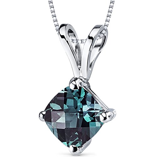 14 Karat White Gold Cushion Cut 1.00 Carats Created Alexandrite Pendant - Lab Brilliant Alexandrite Pendant