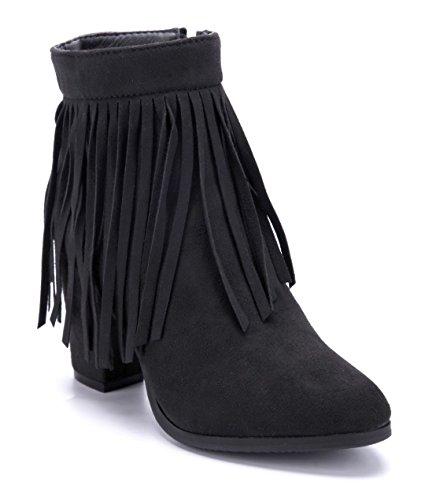Schuhtempel24 Damen Schuhe Westernstiefel Stiefel Stiefeletten Boots Blockabsatz 8 cm Schwarz