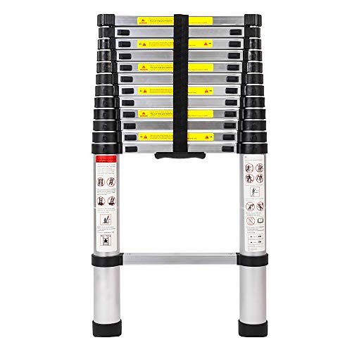 Luisladders Oshion Aluminum Telescoping Ladders Telescopic Extension Ladder 330 Pound Capacity (12.5 Feet)