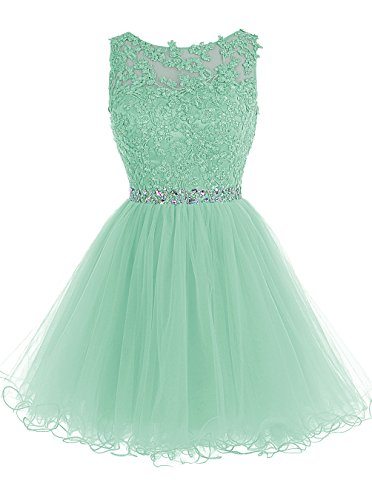 ALAGIRLS Short Beaded Prom Dress Tulle Applique Homecoming Dress Mint US6 Womens Applique