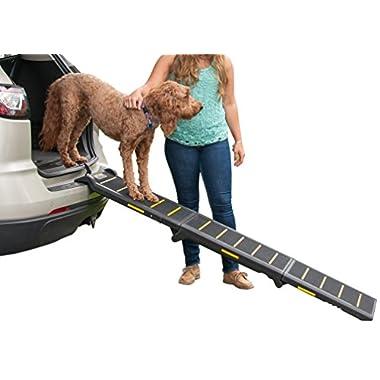 Pet Gear Tri-Fold Ramp 71 inch Pet Ramp supports 200LBS, Black/Yellow (Reflective)