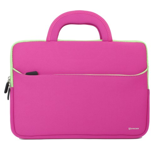 11.6-12.2 inch Tablet Sleeve, Evecase 11.6~12.2 inch Tablet/Notebook/ Chromebook/Ultrabook Sleeve, Ultra-Portable Neoprene Zipper Carrying Case Bag with Accessory Pocket - Hot Pink/Green Trim -