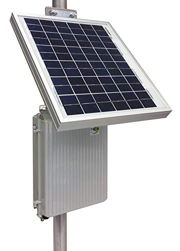 RemotePro 2.5W Cont Remote Pwr Sys, 10W Solar, 12V 9Ah 108Wh Batt,12V 20A PWM Solar Charge Ctrl w/Status Display/Load Ctrl, Pole/Wall Mt Outdoor DieCast Alum Encl and Side of Pole Solar Mount