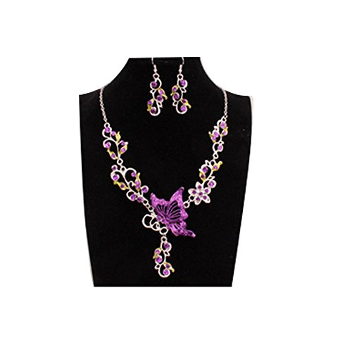 China Clay Suppliers (Darkey Wang National Wind Retro Fashion Women Necklace Pendant Bridal Jewelry Butterflies(Purple))
