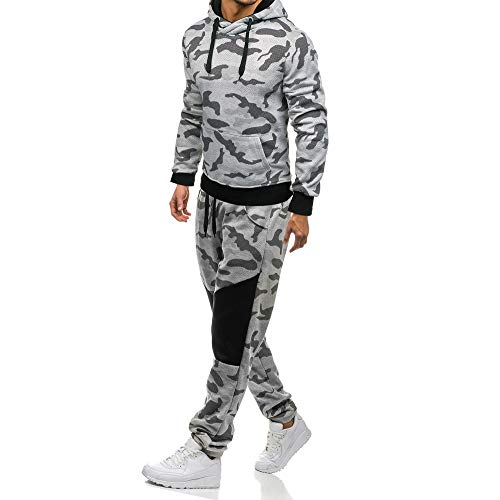 (iLXHD 2018 Men's Camouflage Sweatshirt Pants Sets Sports Suit Tracksuit Hoodies(Gray ,US L/CN XL))