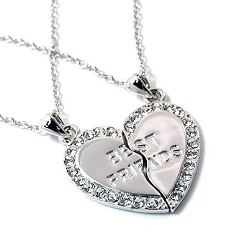 Best Friends. 2-piece Heart Silver Tone Charm Two Necklace