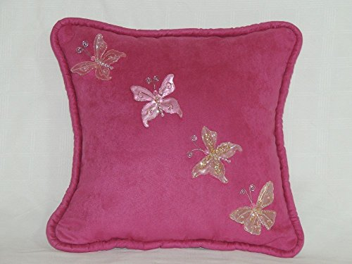 "Suede Embellishments - Gorgeous 12"" x 12"" one-of-a-kind Petite Rose Ultra Suede Pillow, featuring hand-applied Butterfly embellishments. 100% poly-fill insert; ready now. Handmade in the USA."