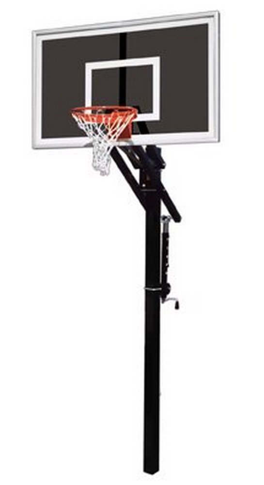 最初チームJam Eclipse steel-smokedガラスin ground調整可能バスケットボールsystem44、マルーン B01HC0DAJ8