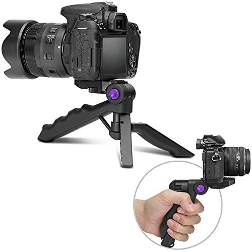 Mini trípode para cámara con agarre de pistola.