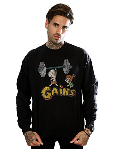 The Flintstones Men's Bam Bam Gains Distressed Sweatshirt Large Black