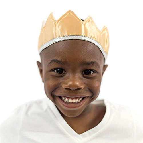 Everfan Gold Satin Crown - Royal Princess, Prince, King, Queen, Dress Up Costume Crown ()