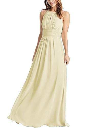 Weddder Halter Bridesmaid Dresses Long A-Line Pleated Empire Waist Chiffon Prom Dresses Champagne Size (Empire Champagne)