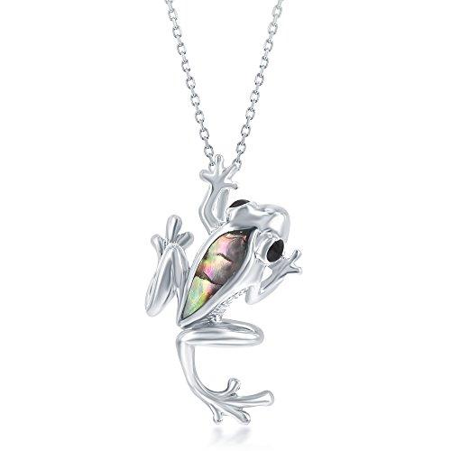 (Sterling Silver High Polish Natural Abalone Shell Frog 18
