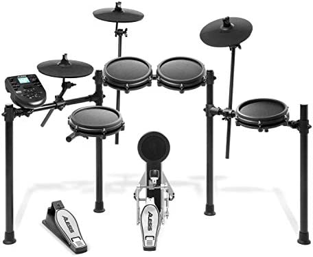Alesis Drums Nitro Mesh Kit – Eight Piece All Mesh Electronic Drum Kit With Super Solid Aluminum Rack, 385 Sounds, 60 Play Along Tracks, Connection Cables, Drum Sticks & Drum Key Included
