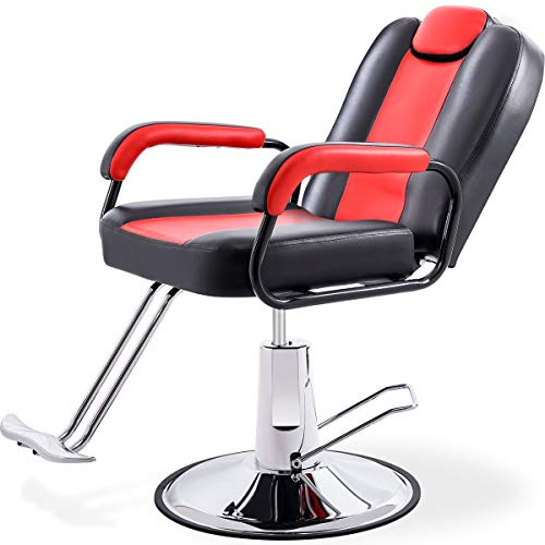 Hydraulic Recliner Barber Chair for Hair Salon with 20% Extra Wider Seat & Heavy Duty Hydraulic Pump, 2019 Upgraded Salon Beauty Equipment (Black & Red)