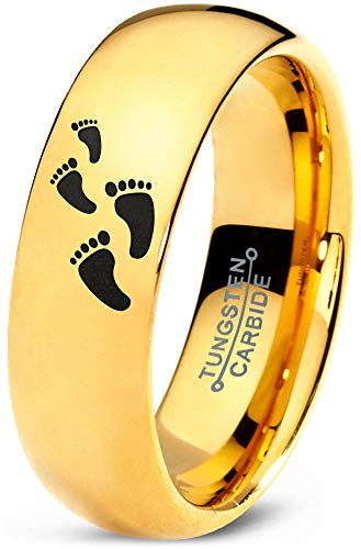 Zealot Jewelry Tungsten Walking Trail Human Footprints Band Ring 7mm Men Women Comfort Fit 18k Yellow Gold Dome Polished Size 10.5