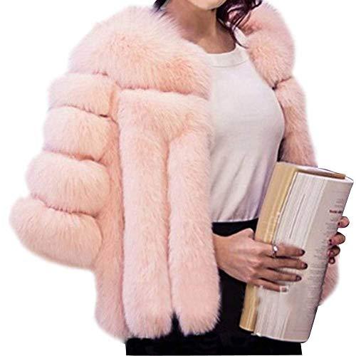 Moda Cappotto Autunno Accogliente Pelliccia Donne Ecopelliccia Manica Calda Donna Puro Giacche Colore Battercake Di Giacca Outerwear Abbottonatura Lunga Casual Eleganti Pink Casuale xYtwaqv