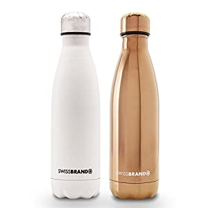 Swissbrand Swiss Water Bottle-2 Pack-White Matte/Copper