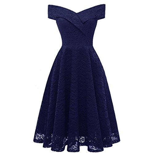 Women Dress, Vintage Floral Lace Off Shoulder Party Valentine's Day Blue]()