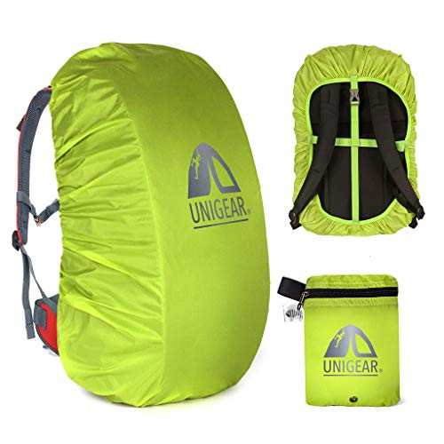 Unigear Backpack Rain Cover Waterproof Rating 5000mm Ultraportable and Durable with 2 Anti-Slip Buckle Strap, Integrated Carry Pouch Design (Green, Large for 40L-50L Backpack)