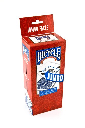 Bicycle Poker Size Jumbo Index Playing Cards (Pack of 12), (Large Print Playing Cards)