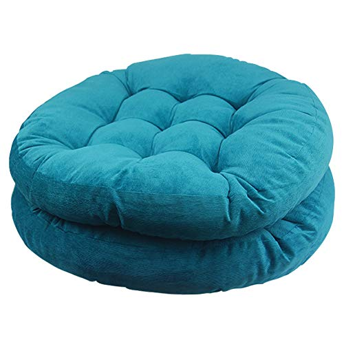 Solid Papasan Patio Seat Cushion Round Chair Pad Home Floor Cushion 22 Inch Set of 2 Throw Pillows Indoor/Outdoor Blue (Chair Wicker Oversized Papasan)