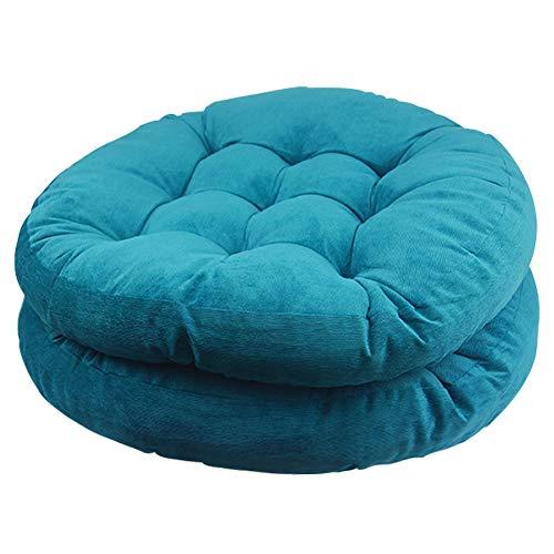 Solid Papasan Patio Seat Cushion Round Chair Pad Home Floor Cushion 22 Inch Set of 2 Throw Pillows Indoor/Outdoor Blue (Outdoor Papasan Chair)