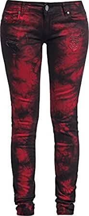 Rock Rebel by EMP Vicky Snow Wash (Skinny Fit) Vaqueros Mujer negro/rojo W30L32