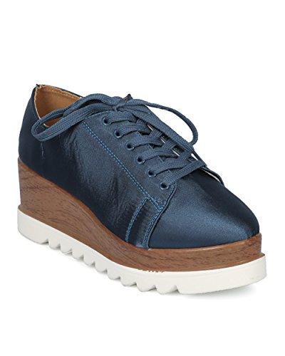 Alrisco Dames Dubbele Gestapelde Creeper Sneaker - Platform Wedge Loafer - Toeschouwer Geïnspireerd Hipster Nok Zool Loafer Sneaker - Hd00 Door Qupid Collectie Indigo Satijn